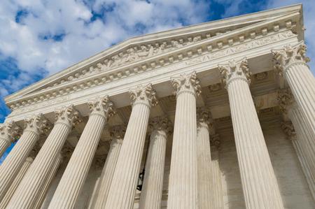 Amerikaanse Hooggerechtshof gebouw kolommen en portiek Stockfoto