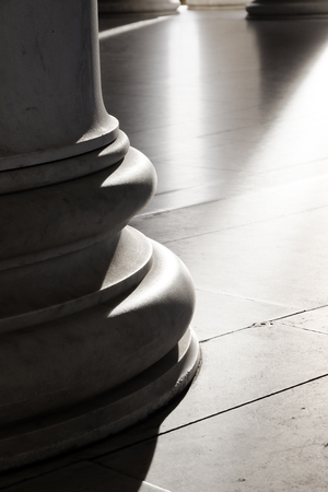light columns: Base of Ionic Columns with the light and shadows