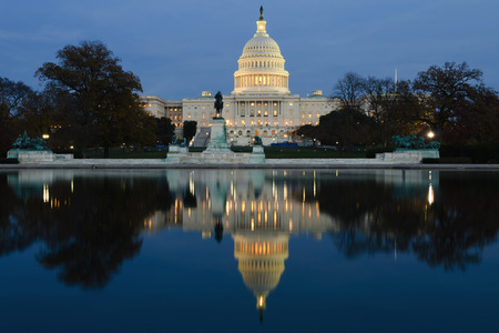 state government: View on Capitol in Washington DC on dusk Stock Photo