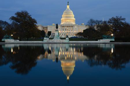 View on Capitol in Washington DC on dusk Archivio Fotografico