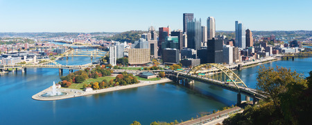 Panoramic view on Pittsburgh, PA skyline Stok Fotoğraf
