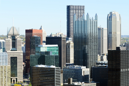 Buildings in downtown  Pittsburgh, PA 免版税图像