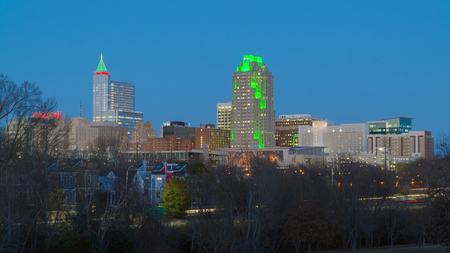 View on downtow raleigh, NC during winter holidays