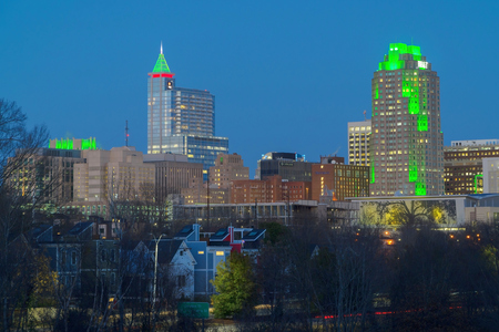 December 2017. View on Downtown Raleigh, NC USA at dusk during winter holidays 報道画像