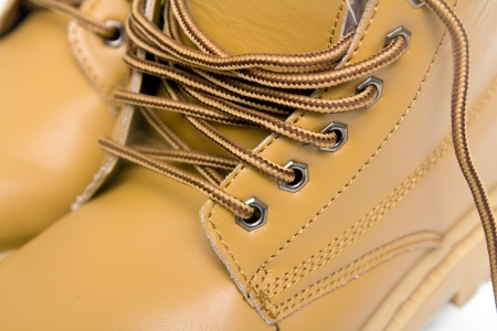 laces on the brown boots Stock Photo - 17616596