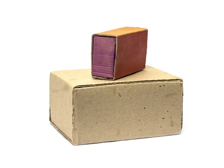 cardboard boxes on a white background Stock Photo - 17616364
