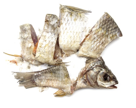 redeye: Dried fish, dried on a white background