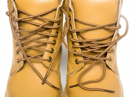 laces on the brown boots Stock Photo - 17616600