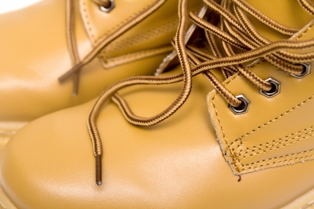 laces on the brown boots Stock Photo - 17616608