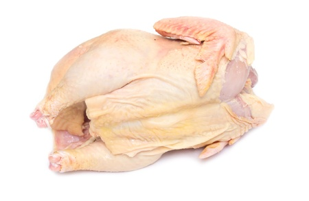 Carcass of the whole chicken ready to preparation on a white background