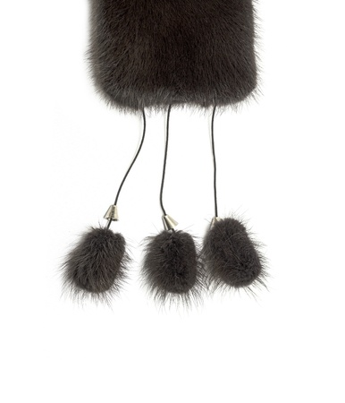 peltry: black fox fur on a white background Stock Photo