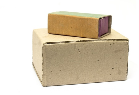 cardboard boxes on a white background Stock Photo - 17616468