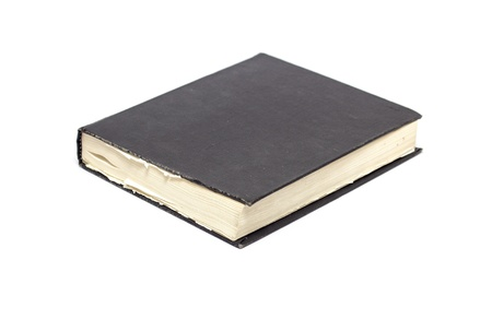 hard bound: Generic hard bound black book with blank cover, isolated on white background.