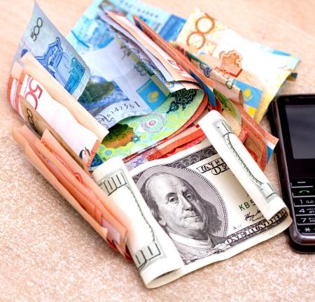 Hundred dollar bills money pile Stock Photo