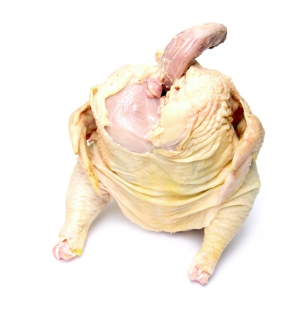 Carcass of the whole chicken ready to preparation on a white background photo