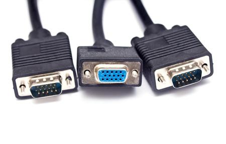 vga: Cable para v�deo VGA a cabo Foto de archivo