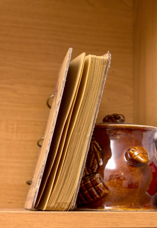 annals: old books on a wooden shelf Stock Photo