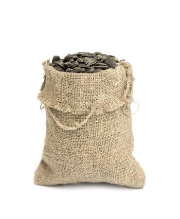 gunny: Black sunflower seeds in a bag