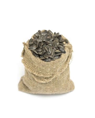 Black sunflower seeds in a bag photo