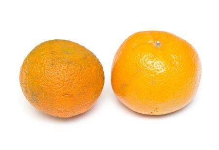 tangerine on white background photo
