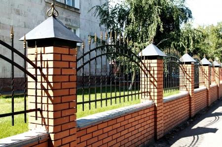 fence metal, brick, nature Stock Photo - 18463547