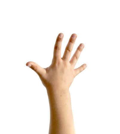 hand van het kind op een witte achtergrond Stockfoto
