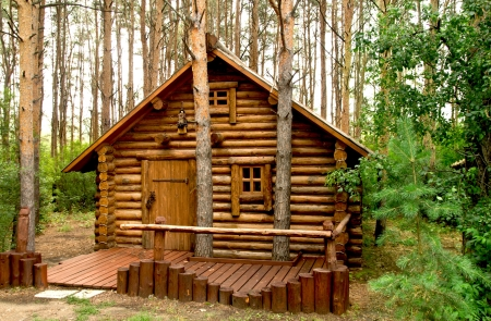 wooden house in the woods Stock Photo