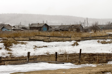 The old wooden houses, Siberian