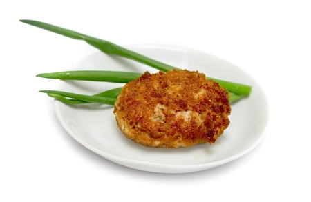 appetizing fried cutlet on a plate photo