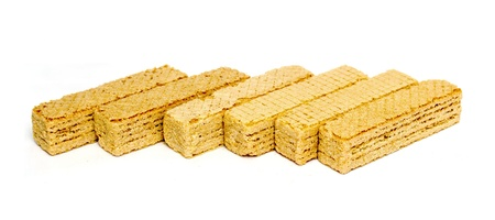 wafer cookies on a white background photo