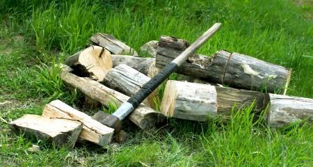 Ax on wood background Stock Photo - 20155743