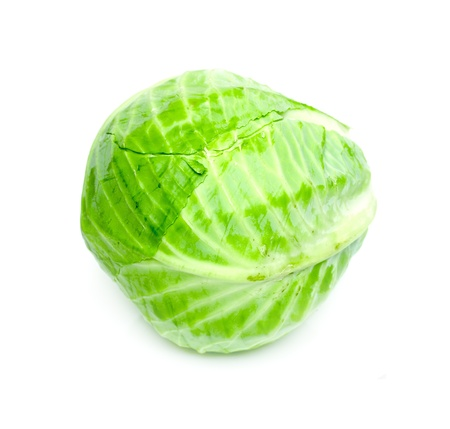 Ripe Green Cabbage Isolated on White Background