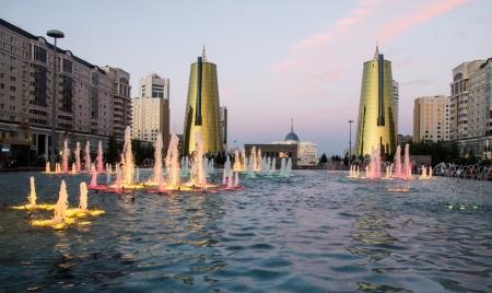 astana: Astana Kazakhstan sightseeing by night Stock Photo
