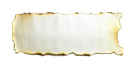 Burned paper on white background with clipping path photo