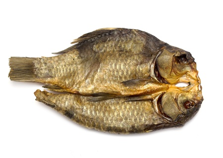 allocated on white: Dried fish allocated on a white background Stock Photo
