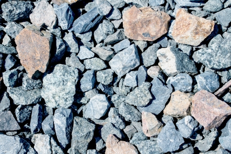 Rail road track ballast stone gravel close-up as background Stok Fotoğraf