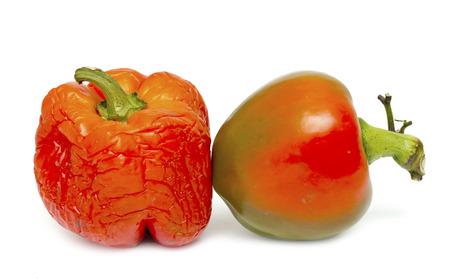 sluggish: sluggish old pepper on a white background Stock Photo