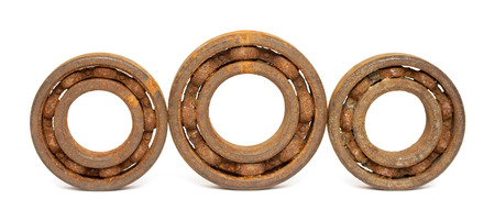 chromium plated: Old and rusty ball bearing, isolated on white background