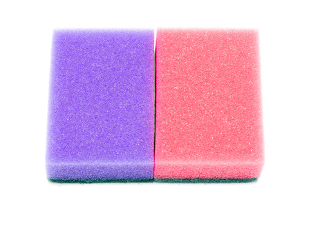 The foam sponge for washing dishes isolated on white background photo
