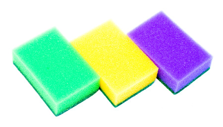 finery: The foam sponge for washing dishes isolated on white background