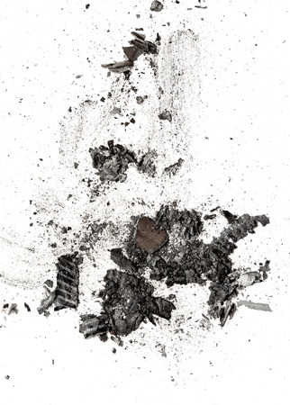 the ashes of the paper on a white background Imagens