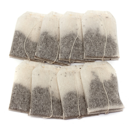 Tea bags on a white background photo