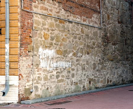 corner house: old wall brick corner house