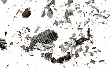 burnt: the ashes of the paper on a white background Stock Photo