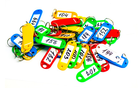 keychains: Some color Keychains and Digits on a white background