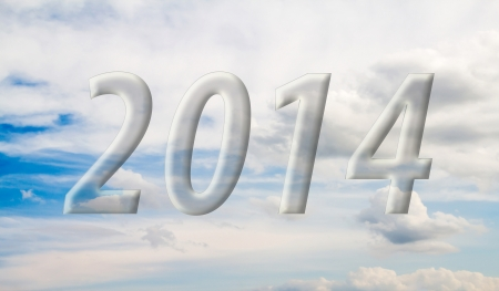 2014 on the clouds in the blue sky photo