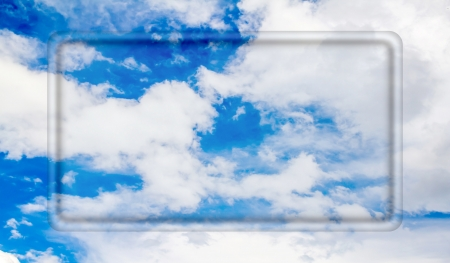 transparent frame for your text on a background of blue sky with clouds photo