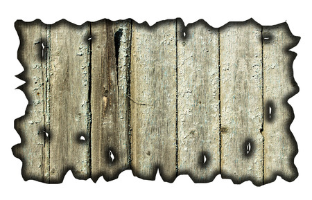 charred wood board isolated on white photo