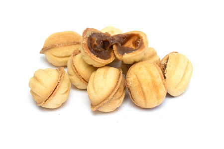 cookies nuts on a white background photo