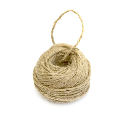 hasp: Skein of jute twine on the white background